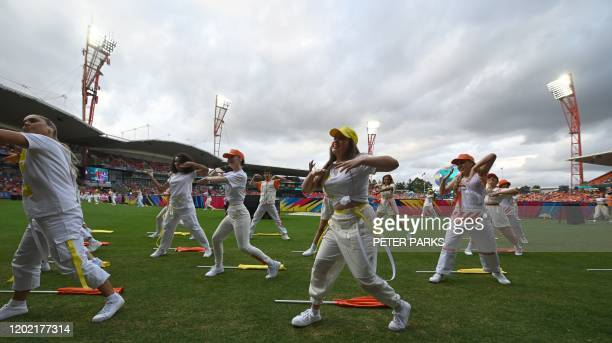 Dancers perform before the opening match between Australia and India in the women's Twenty20 World Cup cricket tournament at the Sydney Showground in...