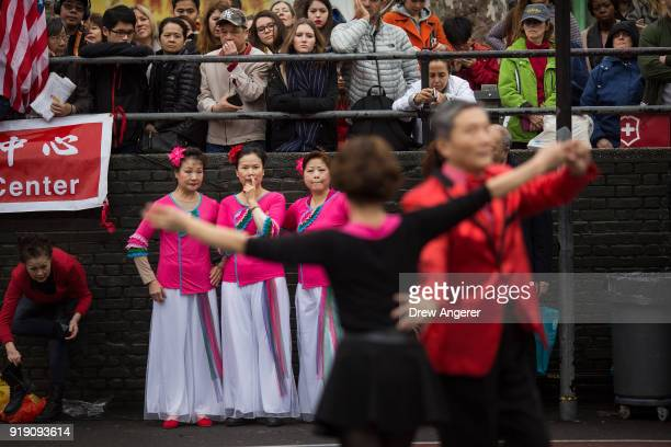 Dancers perform during a cultural festival to mark the first day of the Lunar New Year in Chinatown neighborhood in Manhattan, February 16, 2018 in...