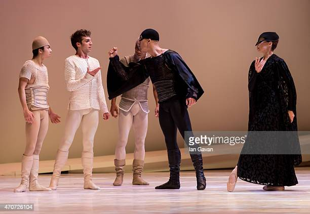 Dancers perform during a dress rehearsal for the Monte Carlo Ballet's 'Romeo and Juliet' at London Coliseum on April 22 2015 in London England
