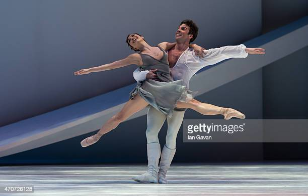 Dancers perform during a dress rehearsal for the Monte Carlo Ballet's Romeo and Juliet at London Coliseum on April 22 2015 in London England
