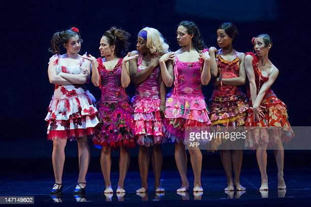 Dancers perform during a dress rehearsal for the musical West Side Story at the German Oper which premieres in Berlin, Germany, on June 26, 2012. The...