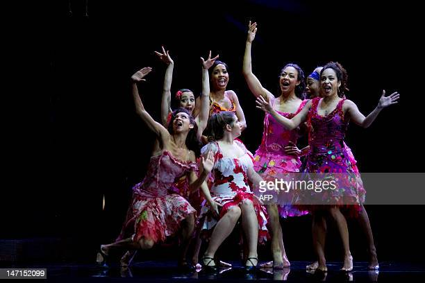 Dancers perform during a dress rehearsal for the musical West Side Story at the German Oper which premiers in Berlin, Germany, on June 26, 2012. The...
