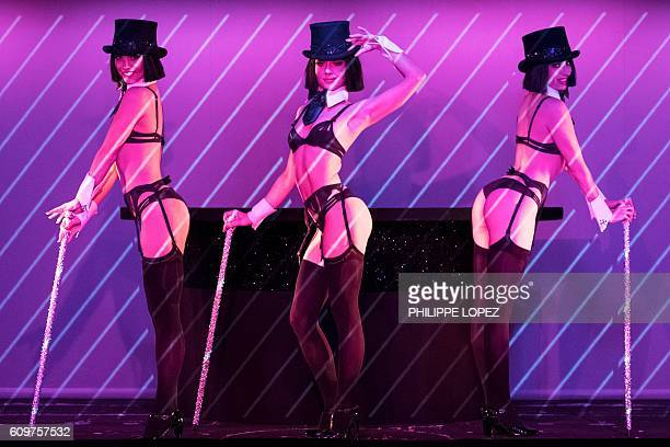 Dancers perform during a preview of the Dessus Dessous show for which renowned Parisian lingerie designer Chantal Thomass was invited as a guest...