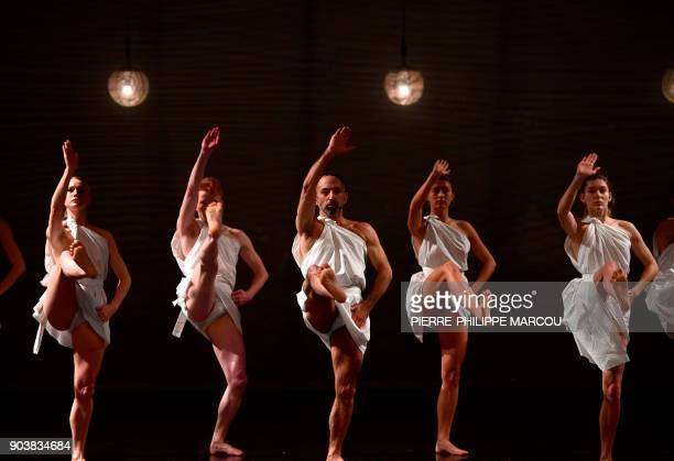 Dancers perform during a rehearsal for 'Mount Olympus To glorify the cult of tragedy' by Belgian stage director Jan Fabre in Madrid on January 11...