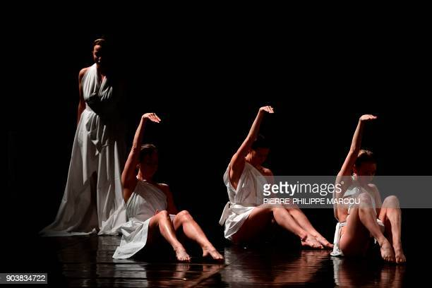 Dancers perform during a rehearsal for Mount Olympus To glorify the cult of tragedy by Belgian stage director Jan Fabre in Madrid on January 11 2018...