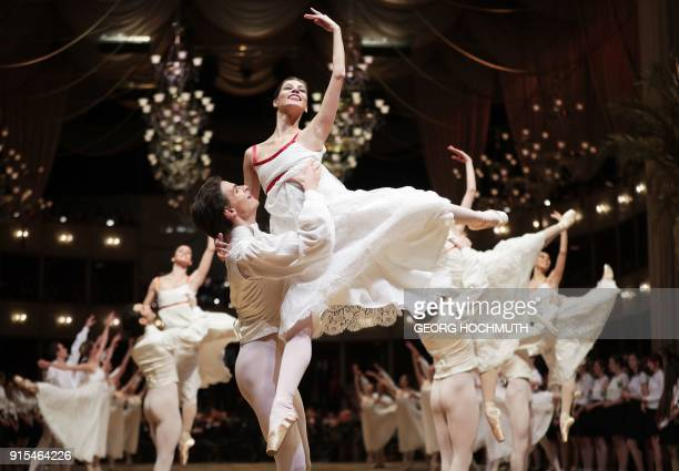 TOPSHOT Dancers perform during a rehearsal on the eve of the Opera Ball 2018 the sumptuous highlight of the Austrian capital's ball season on...
