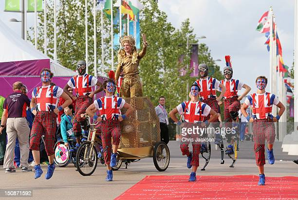 Dancers perform during a welcome ceremony at the Paralympic Village on August 28 2012 in London England