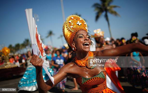 Dancers perform during Carnival celebrations at the Rio Maracatu 'bloco' or street parade on February 9 2016 in Rio de Janeiro Brazil Festivities...