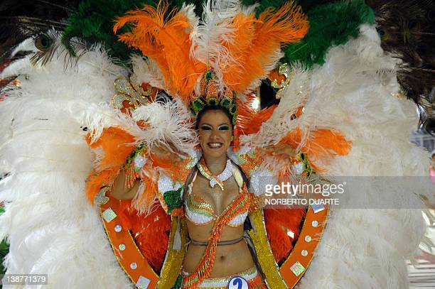 Dancers perform during carnival in Encarncion 375 km south of Asuncion on February 11 2012 The 'Llamadas' is Paraguay's biggest carnival parade in...
