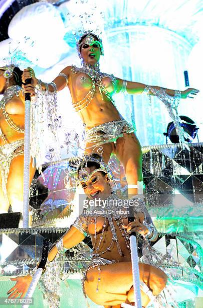 Dancers perform during its parade at 2014 Brazilian Carnival at Sapucai Sambadrome on March 03 2014 in Rio de Janeiro Brazil Rio's two nights of...