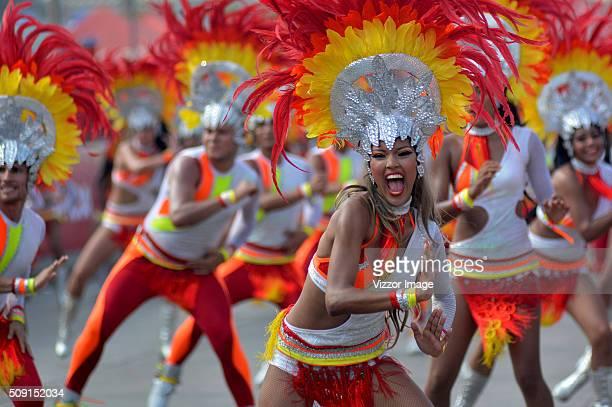 Dancers perform during La Gran Parada de Fantasía as part of Carnaval de Barranquilla 2016 on February 08 2016 in Barranquilla Colombia