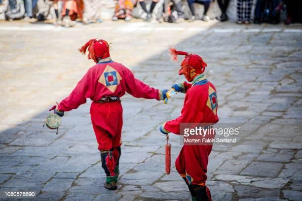 Dancers Perform During Paro Tsechu Celebrations at Rinpung Dzong Monastery in Paro, Bhutan Springtime