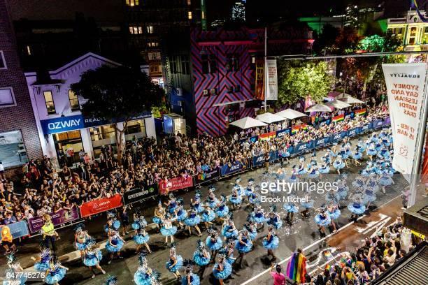 Dancers perform during the 2017 Sydney Gay Lesbian Mardi Gras Parade on March 4 2017 in Sydney Australia The Sydney Mardi Gras parade is an annual...