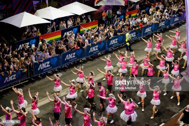 Dancers perform during the 2017 Sydney Gay Lesbian Mardi Gras Parade on March 4 2017 in Sydney Australia The Sydney Mardi Gras parade is an annual...