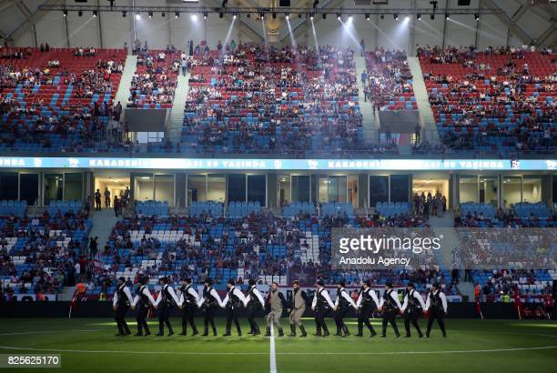 Dancers perform during the 50th foundation anniversary of Trabzonspor at the Senol Gunes Sport Complex in Trabzon Turkey on August 2 2017