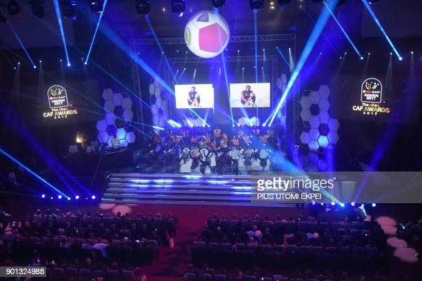 Dancers perform during the African Footballer of the Year Awards ceremony at the International Conference Centre in Accra on January 4 2018 / AFP...