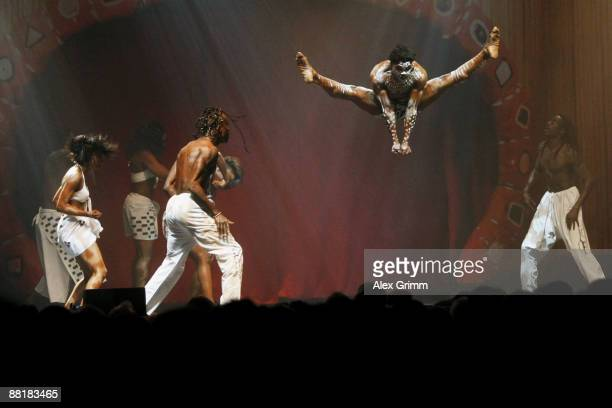 Dancers perform during the Afrika Afrika musical by Austrian artist Andre Heller at the Alte Oper on June 2 2009 in Frankfurt am Main Germany