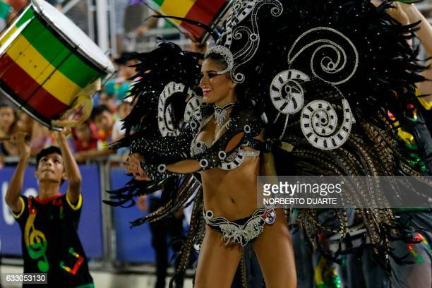 Dancers perform during the carnival in Encarnacion, Paraguay on January 29, 2017. - Encarnacion is located 375 km south of Asuncion and was named the...