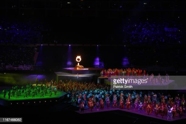 Dancers perform during the closing ceremony of Pan American Games Lima 2019 at Estadio Nacional de Lima on August 11, 2019 in Lima, Peru.