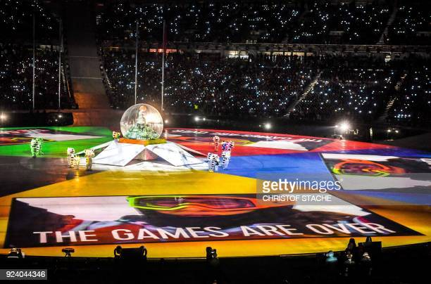 TOPSHOT Dancers perform during the closing ceremony of the Pyeongchang 2018 Winter Olympic Games at the Pyeongchang Stadium on February 25 2018 / AFP...