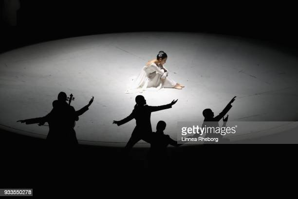 Dancers perform during the closing ceremony of the PyeongChang 2018 Paralympic Games at the PyeongChang Olympic Stadium on March 18 2018 in...