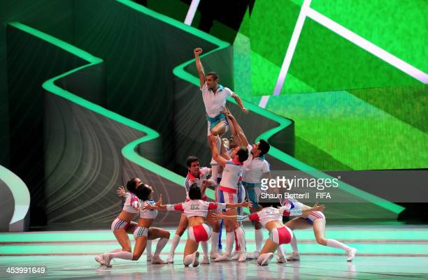 Dancers perform during the Final Draw for the 2014 FIFA World Cup Brazil at Costa do Sauipe Resort on December 6 2013 in Costa do Sauipe Bahia Brazil