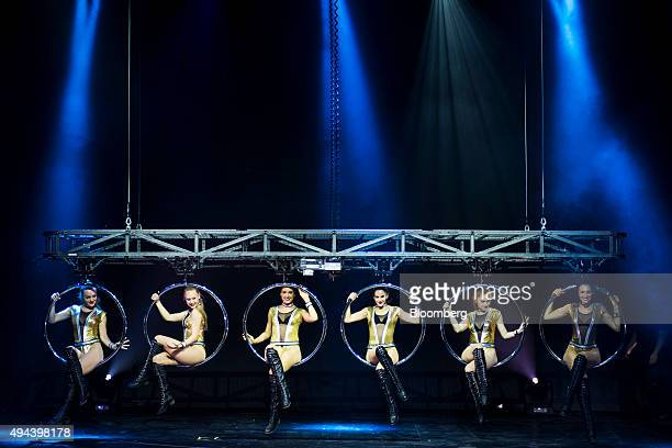 Dancers perform during the Franz Harari show in the House of Magic arena at the Studio City casino resort developed by Melco Crown Entertainment Ltd...