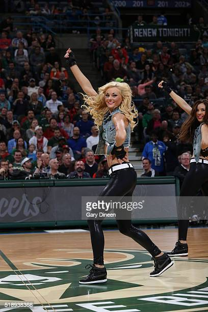 Dancers perform during the game between the Chicago Bulls and Milwaukee Bucks on April 3 2016 at the BMO Harris Bradley Center in Milwaukee Wisconsin...