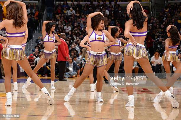 Dancers perform during the game between the Houston Rockets and Los Angeles Lakers on January 17 2016 at STAPLES Center in Los Angeles California...
