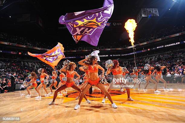 Dancers perform during the game between the Utah Jazz and Phoenix Suns on February 6 2016 at Talking Stick Resort Arena in Phoenix Arizona NOTE TO...