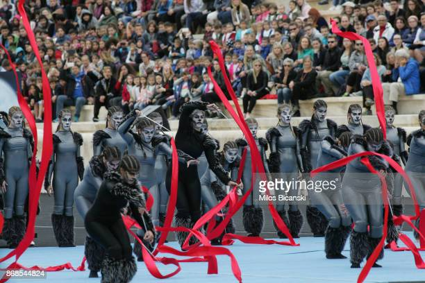 Dancers perform during the handover ceremony of the Olympic flame for the 2018 Winter Olympics in Pyeongchang South Korea on October 31 2017 in...