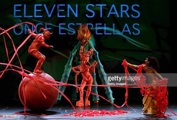 Dancers perform during the kickof event presentation of UEFA Women's Champions League Final at Federico Garcia Lorca Theatre on March 10 2010 in...
