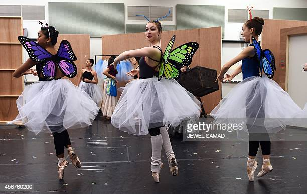 Dancers perform during the media preview of the musical production Little Dancer in New York on October 6 ahead of its world premiere to be held at...