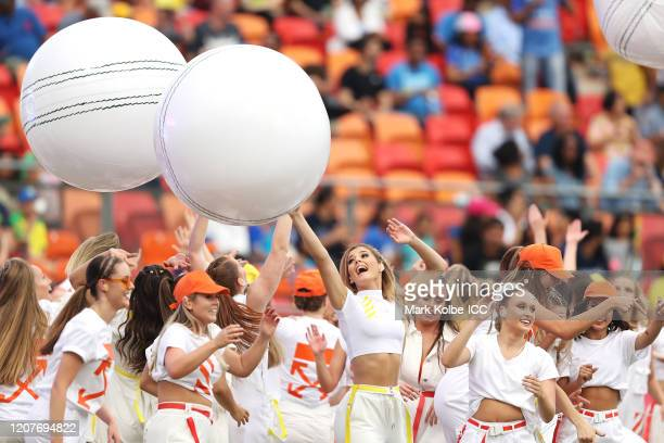 Dancers perform during the opening before the ICC Women's T20 Cricket World Cup match between Australia and India at Sydney Showground Stadium on...