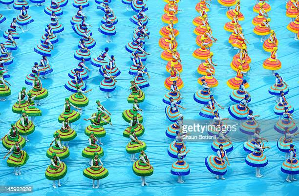 Dancers perform during the opening ceremony ahead of the UEFA EURO 2012 group A match between Poland and Greece at The National Stadium on June 8...
