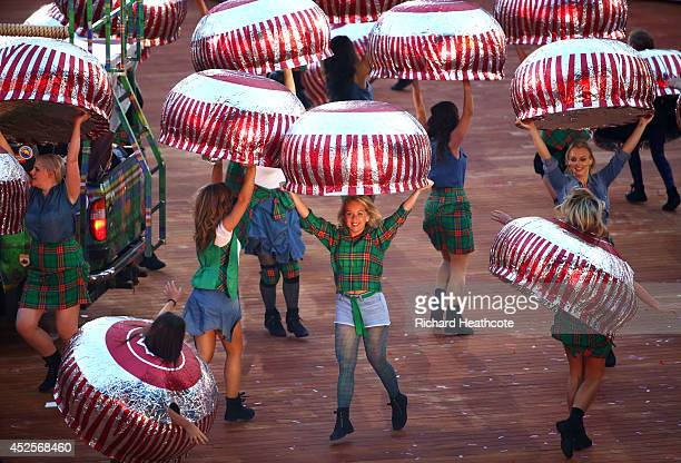 Dancers perform during the Opening Ceremony for the Glasgow 2014 Commonwealth Games at Celtic Park on July 23 2014 in Glasgow Scotland
