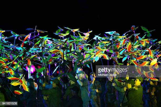 Dancers perform during the Opening Ceremony for the Gold Coast 2018 Commonwealth Games at Carrara Stadium on April 4 2018 on the Gold Coast Australia