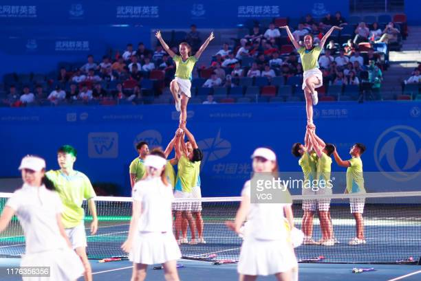 Dancers perform during the opening ceremony of 2019 Wuhan Open at Optics Valley International Tennis Center on September 22 2019 in Wuhan Hubei...