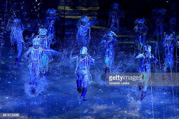 Dancers perform during the Opening Ceremony of the 16th FINA World Championships at TatNeft Arena on July 24 2015 in Kazan Russia
