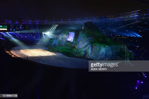 Dancers perform during the opening ceremony of the 2018 Asian Games at the Gelora Bung Karno main stadium in Jakarta on August 18 2018