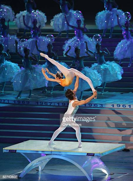 Dancers perform during the opening ceremony of the 48th World Table Tennis Championships at the Oriental Pearl TV Tower on April 30 2005 in Shanghai...