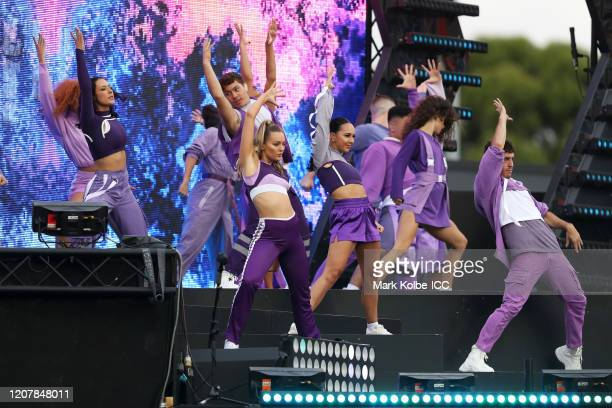 Dancers perform during the opening ceremony of the ICC Women's T20 Cricket World Cup match between Australia and India at Sydney Showground Stadium...