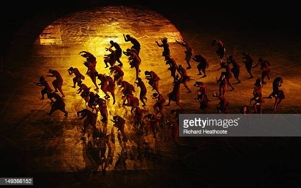 Dancers perform during the Opening Ceremony of the London 2012 Olympic Games at the Olympic Stadium on July 27 2012 in London England