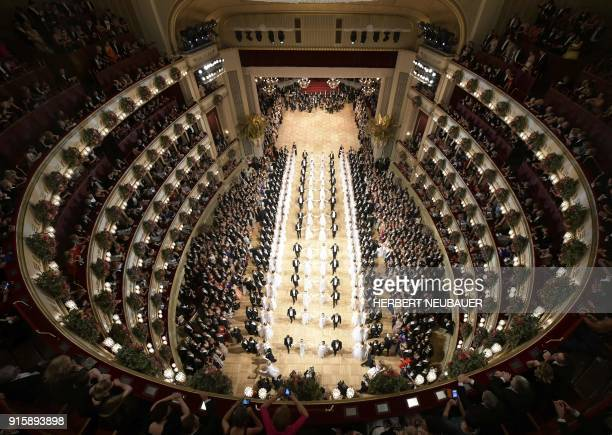 Dancers perform during the opening ceremony of the Opera Ball 2018 the sumptuous highlight of the Austrian capital's ball season on February 8 2018...