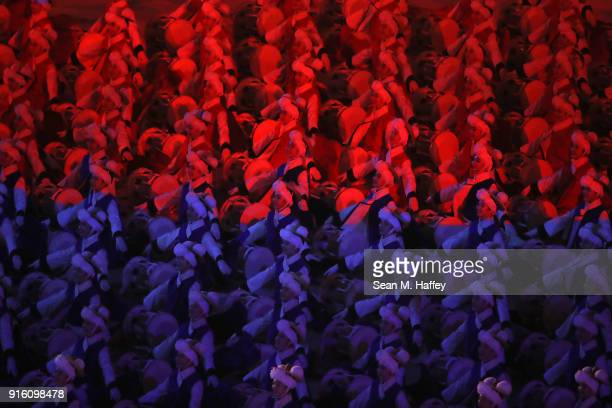Dancers perform during the Opening Ceremony of the PyeongChang 2018 Winter Olympic Games at PyeongChang Olympic Stadium on February 9, 2018 in...