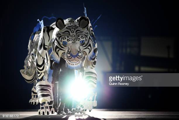 Dancers perform during the Opening Ceremony of the PyeongChang 2018 Winter Olympic Games at PyeongChang Olympic Stadium on February 9 2018 in...
