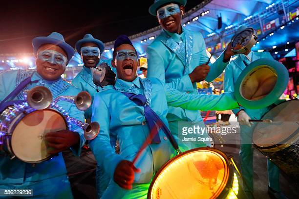 Dancers perform during the Opening Ceremony of the Rio 2016 Olympic Games at Maracana Stadium on August 5, 2016 in Rio de Janeiro, Brazil.