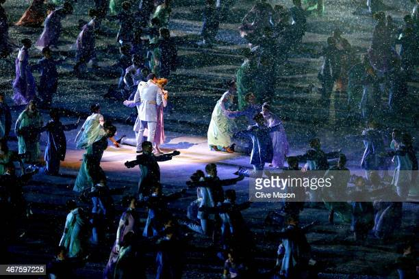 Dancers perform during the Opening Ceremony of the Sochi 2014 Winter Olympics at Fisht Olympic Stadium on February 7 2014 in Sochi Russia