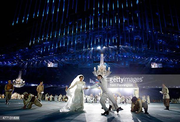 Dancers perform during the Opening Ceremony of the Sochi 2014 Paralympic Winter Games at Fisht Olympic Stadium on March 7 2014 in Sochi Russia