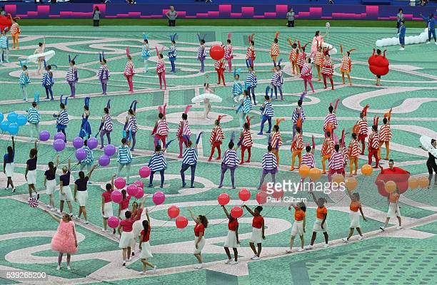 Dancers perform during the opening ceremony prior to the UEFA Euro 2016 Group A match between France and Romania at Stade de France on June 10 2016...